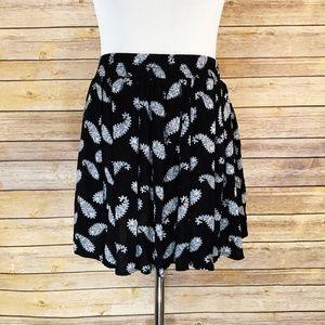 Brandy Melville Black White Paisley Mini Skirt
